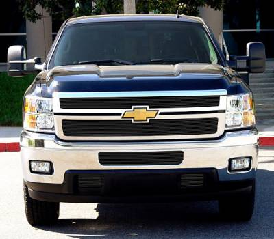 Billet Series Grilles - T-REX Chevrolet Silverado HD Billet Grille Overlay/Bolt or Insert On - 2 Pc - All Black - Pt # 21114B