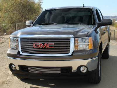 Billet Series Grilles - 2007-2012 T-REX GMC Sierra Billet Grille Overlay/Bolt On - W/ Logo Opening - Polished - Pt # 21205