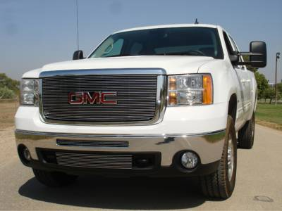 T-REX Grilles - 2007-2010 Sierra HD Billet Grille, Polished, 1 Pc, Overlay - PN #21207