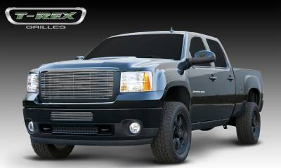 T-REX Grilles - GMC Sierra HD Billet Grille Insert & Overlay/Bolt On - OE Logo Mounts on Billet - Pt # 21209