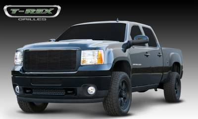 T-REX Grilles - GMC Sierra HD Billet Grille Insert & Overlay/Bolt On - OE Logo Mounts on Billet - All Black - Pt # 21209B