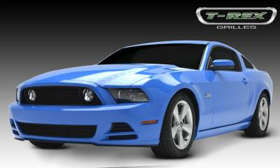 T-REX Grilles - Ford Mustang GT Billet Grille Overlay - 3 Pc's - w/o OE Logo cutout - All Black - Pt # 21526B