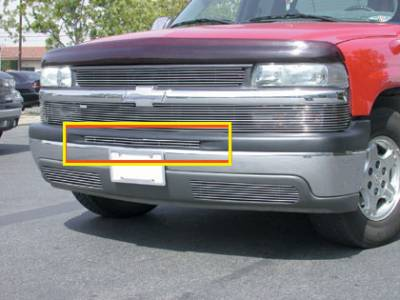 Billet Series Grilles - T-REX Chevrolet Silverado Bumper Billet Grille Top Pad Insert - 1 Piece 3 Bars - Pt # 25076