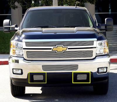 Clearance - T-REX Grilles - Chevrolet Silverado HD Bumper Tow Hook Billet Grilles - 2 Pc - Pt # 25115