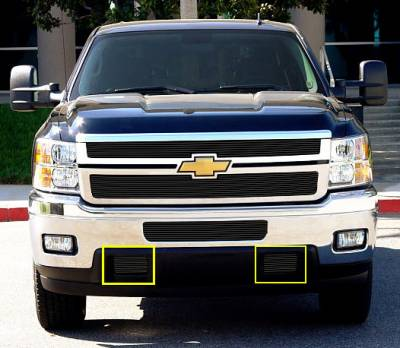 Clearance - Chevrolet Silverado HD Bumper Tow Hook Billet Grilles - 2 Pc - All Black - Pt # 25115B
