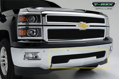 T-REX Grilles - Chevrolet Silverado Bumper Billet Grille Overlay/Bolt-on - All Black - Pt # 25117B