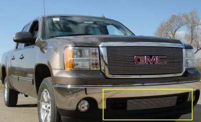 T-REX Grilles - 2007-2013 Sierra 1500, 07-10 HD Billet Bumper Grille, Polished, 1 Pc, Bolt-On,  Between Tow Hooks - PN #25205