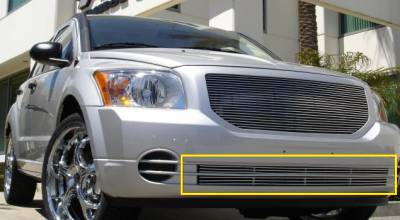 T-REX Grilles - 2007-2012 Dodge Caliber Billet Bumper Grille, Polished, 2 Pc, Overlay - PN #25477