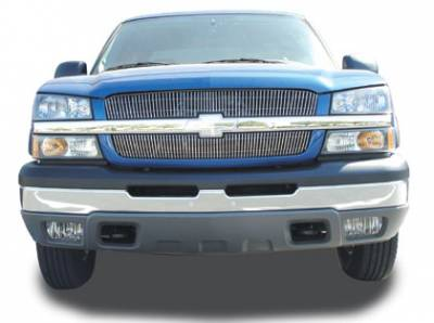 Clearance - Chevrolet Silverado VERTICAL Billet Grille Overlay/Bolt - 2 Pc 65 & 63 Bars - Pt # 31100