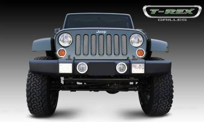 Sport Series Grilles - T-REX Jeep Wrangler Sport Series Formed Mesh Grille - Stainless Steel - Triple Chrome Plated installs behind factory grille - Pt # 44481