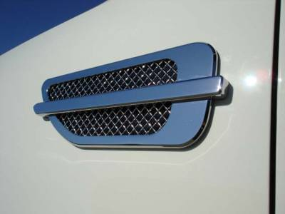 "Emblems, Logoz and DIY Components - Side Vents and Accessories - T-REX Grilles - ALL Most Vehicles Side Vents - ABS Chrome Plated - Escalade Style - 10.5""x4"" Sold in Pairs - Pt # 49001"