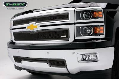 Clearance - Chevrolet Silverado Upper Class Mesh Grille - All Black - 2 Pc Style - Pt # 51117