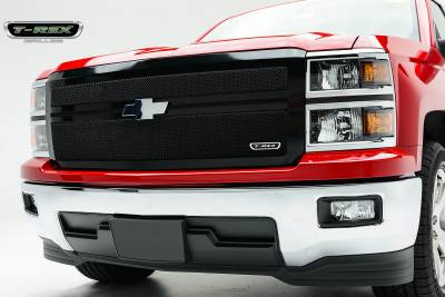 Upper Class Series Grilles - T-REX Chevrolet Silverado Upper Class Mesh Grille - All Black -  Main with 2 Bars Acrross, Replacement, 1 Pc - Pt # 51118