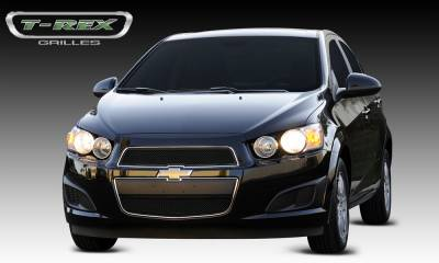 Upper Class Series Grilles - T-REX Chevrolet Sonic Upper Class Mesh Grille - 2 Pc - All Black - Pt # 51132