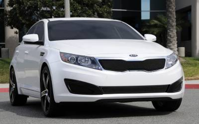 Clearance - T-REX Grilles - Kia Optima Upper Class Mesh Grille - All Black - With Formed Mesh Center Will not fit SX or vehicles with Sporty Type Grille - Pt # 51320