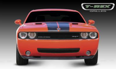 T-REX Grilles - Dodge Challenger ALL Upper Class Mesh Grille - Full Opening Area around Headlights is exposed for street use - All Black - Pt # 51415