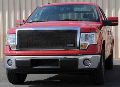 Clearance - T-REX Ford F-150 Upper Class Mesh Grille - 1 Pc Full Opening - With Formed Mesh Center - All Black - Pt # 51568