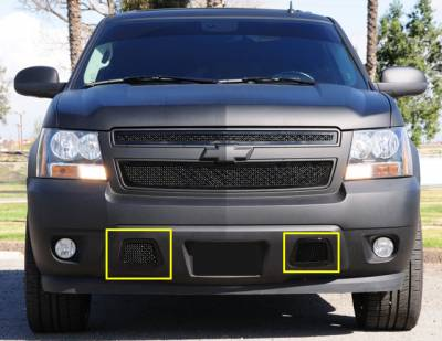 T-REX Grilles - 2007-2013 Avalanche, 07-14 Sub/Tahoe Upper Class Bumper Grille, Black, 2 Pc, Overlay, covers tow hook openings - PN #52051