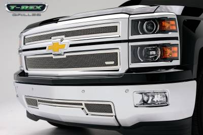 Clearance - T-REX Grilles - Chevrolet Silverado Upper Class Polished Stainless Main Grille - 2 PC Style - Pt # 54117