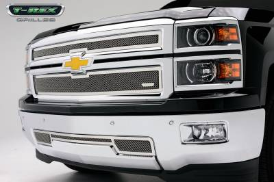 Clearance - T-REX Grilles - Chevrolet Silverado Z71 Upper Class Polished Stainless Main Grille - 2 PC Style - Pt # 54120