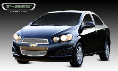 Clearance - T-REX Grilles - Chevrolet Sonic Upper Class Polished Stainless Mesh Grille - 2 Pc - Pt # 54132