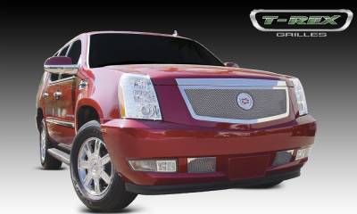 Upper Class Series Grilles - T-REX Cadillac Escalade, EXT, ESV Upper Class Polished Stainless Mesh Grille with Recessed Logo Area - Includes Polished Logo Plate to Re-Install OE Cadillac Grille Emblems - Pt # 54193