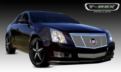 Upper Class Series Grilles - T-REX Cadillac CTS Upper Class Polished Stainless Mesh Grille - 3 Opening Design -Formed Mesh with Recessed Logo Area - Includes Polished Logo Plate to Re-Install OE Cadillac Grille Emblems - Pt # 54198