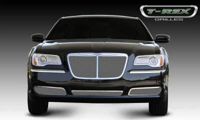 T-REX Grilles - 2011-2014 Chrysler 300 Upper Class Grille, Polished, 1 Pc, Replacement, Bentley Style with Center Vertical Bar, OE Logo installs on top of grille - PN #54434