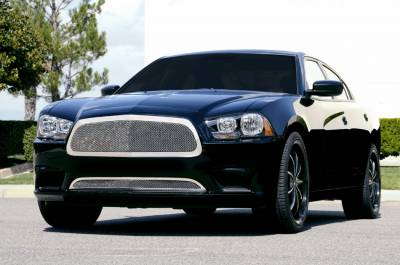 T-REX Grilles - 2011-2014 Charger Upper Class Grille, Polished, 1 Pc, Replacement, Full Opening - PN #54441