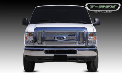 T-REX Grilles - 2008-2014 Ford Econoline XLT Upper Class Grille, Polished, 6 Pc, Overlay - PN #54501