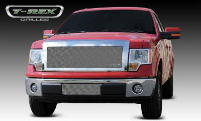 T-REX Grilles - Ford F-150 Upper Class Polished Stainless Mesh Grille - 1 Pc Full Opening - With Formed Mesh Center - Pt # 54568