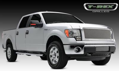 Clearance - T-REX Ford F-150 Upper Class, Formed Mesh Grille, Main, Insert, 1 Pc, Polished Stainless Steel, Requires Center Bars Cutting  on OEM shell - Pt # 54572
