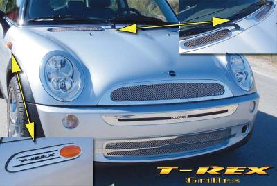 Emblems, Logoz and DIY Components - Side Vents and Accessories - T-REX Grilles - Mini  Mini Cooper Upper Class Polished Stainless Mesh Grille Kit - Includes 2 Pc Grille, Hood Vents, Marker Badges & Bumper - Pt # 54990