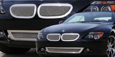 Upper Class Series Grilles - T-REX Grilles - BMW 6 Series Coupe  Upper Class Polished Stainless Mesh Grille - With Formed Mesh Center  - 2 Pc - Pt # 54997