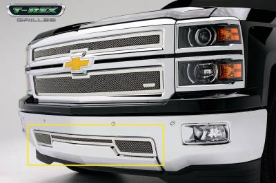 Clearance - T-REX Grilles - Chevrolet Silverado Upper Class Polished Stainless Bumper Mesh Grille - Pt # 55117