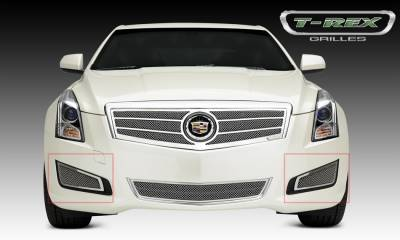 Upper Class Series Grilles - T-REX Cadillac ATS Upper Class Formed Mesh Grille, Side Bumpers, Overlay, 2 Pc, Polished Stainless Steel Will not fit Platinum Edition. - Pt # 55178