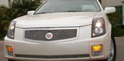 T-REX Grilles - Cadillac CTS Upper Class Polished Stainless Bumper Mesh Grille - 2 Pc Turn Signal Lamp - Pt # 55193