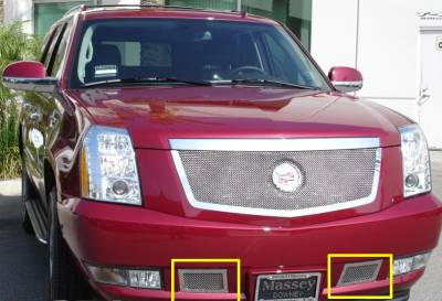 T-REX Grilles - 2007-2014 Escalade Upper Class Bumper Grille, Polished, 2 Pc, Overlay, Covers Tow Hook Openings - PN #55195