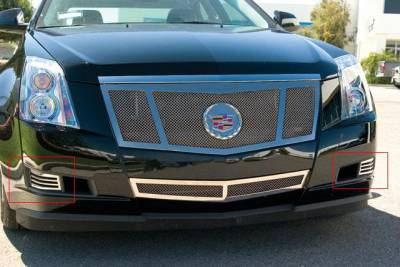 T-REX Grilles - Cadillac CTS w/o fogs lights Upper Class Polished Stainless Bumper Mesh Grille - 2 Pc Bumper Caps Without Factory Fog Lights - Pt # 55198