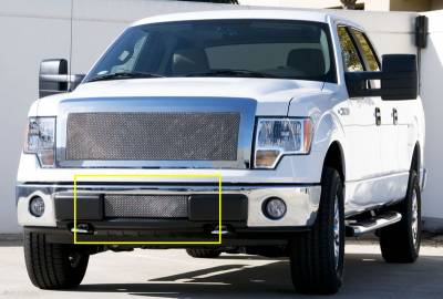 Ford F-150 Upper Class Polished Stainless Bumper Mesh Grille - With Formed Mesh Center - Pt # 55569