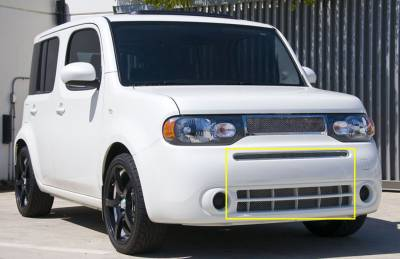 Clearance - Nissan Cube Upper Class Polished Stainless Bumper Mesh Grille - Includes top bumper grille w/frame and lower airt dam mesh Mesh only / No frame - Pt # 55772