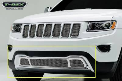 T-REX Grilles - 2014-2015 Jeep Grand Cherokee Upper Class Bumper Grille, Chrome, 1 Pc, Bolt-On - PN #57488