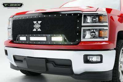 "Torch Series Grilles - T-REX Chevrolet Silverado TORCH Series LED Light Grille 2 - 6""  and 1 - 12"" LED Bar, Formed Mesh Grille, Main, Replacement, 1 Pc, Black Powdercoated Mild Steel, Replaces OE Grille - Pt # 6311181"