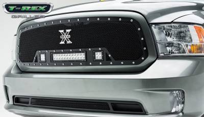 "Torch Series Grilles - T-REX Dodge Ram 1500 TORCH Series LED Light Grille Single 2 - 3"" LED Cubes 1 - 12"" Light Bar For off-road use only - Pt # 6314581"