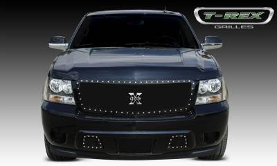 X-Metal Series Grilles - T-REX Chevrolet Avalanche X-METAL Series - Studded Main Grille - ALL Black - Custom 1 Pc Style Requires cutting factory bumper - Pt # 6710521