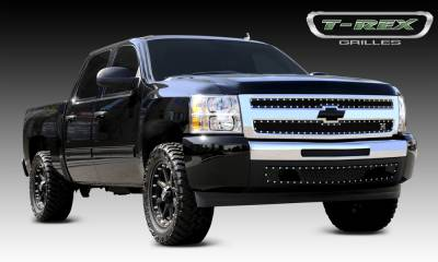 T-REX Grilles - Chevrolet Silverado 1500 X-METAL Series - Studded Main Grille - ALL Black - 2 Pc Style - Pt # 6711101