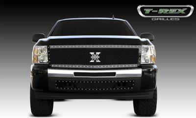 X-Metal Series Grilles - T-REX Grilles - Chevrolet Silverado 1500 X-METAL Series - Studded Main Grille - ALL Black - 1 Pc Style - Pt # 6711111