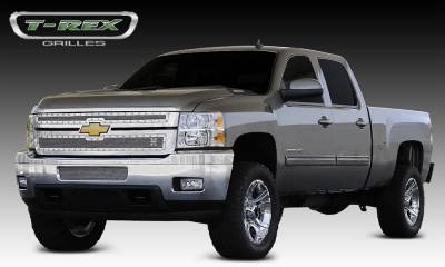 T-REX Grilles - 2011-2014 Silverado HD X-Metal Grille, Polished, 2 Pc, Overlay, Chrome Studs - PN #6711140