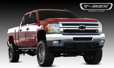 X-Metal Series Grilles - T-REX Grilles - Chevrolet Silverado HD X-METAL Series - Studded Main Grille - ALL Black - 2 Pc Style - Pt # 6711141