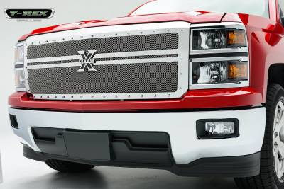 T-REX Grilles - 2014-2015 Silverado 1500 X-Metal Grille, Polished, 1 Pc, Replacement, Chrome Studs, 2 Bars Across - PN #6711180